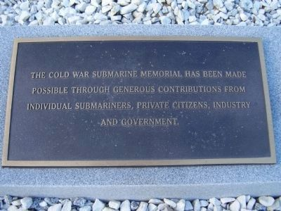 Plaque near the Cold War Submarine Memorial Marker image. Click for full size.