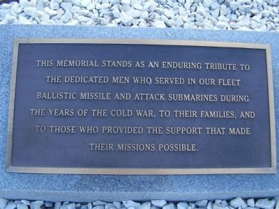 Plaque near the Cold War Submarine Memorial image. Click for full size.