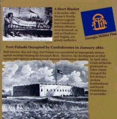 Confederate Savannah Marker: The Short Blanket and Ft. Pulaski image. Click for full size.