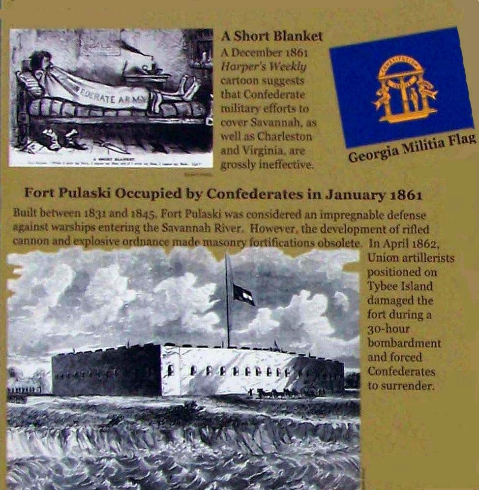 Confederate Savannah Marker: The Short Blanket and Ft. Pulaski