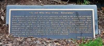 """To All Who May Come...Remember"" Marker image. Click for full size."
