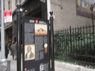 Marker on John Street in Lower Manhattan image. Click for full size.