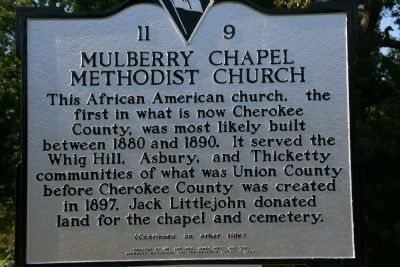 Mulberry Chapel Methodist Church Marker image. Click for full size.