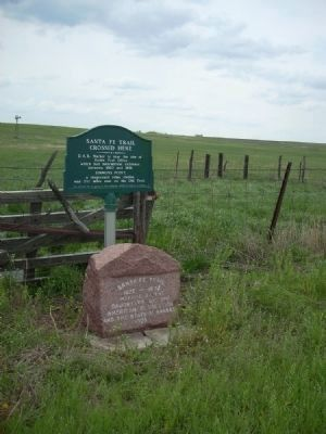 Santa Fe Trail Crossed Here Markers image. Click for full size.