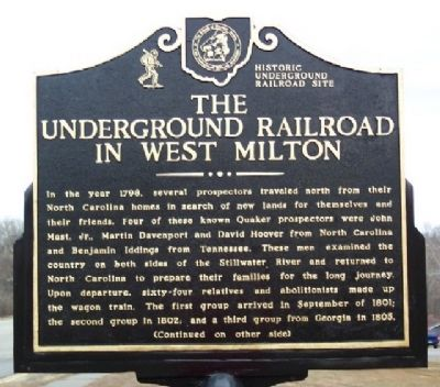 The Underground Railroad in West Milton Marker (Side A) image. Click for full size.
