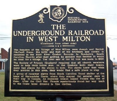 The Underground Railroad in West Milton Marker (Side B) image. Click for full size.