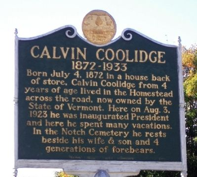 Calvin Coolidge Marker image. Click for full size.