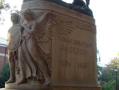 Valor and Faith on the Base of the Statue image. Click for full size.
