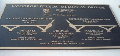 Woodrow Wilson Memorial Bridge Marker - Left Panel image. Click for full size.