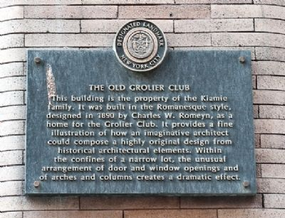 Old Grolier Club Marker image. Click for full size.