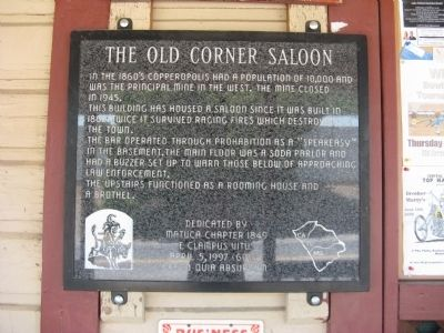 The Old Corner Saloon Marker image. Click for full size.