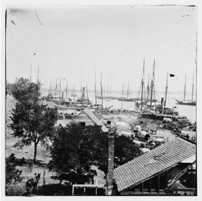 City Point, Virginia. Army wagons and transports image. Click for full size.