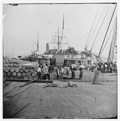 [City Point, Va. African Americans unloading vessels at landing] image. Click for full size.