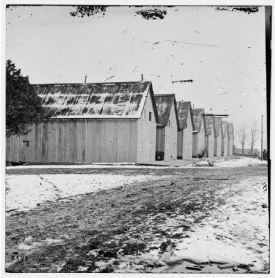 City Point, Virginia. Barracks of Military Railroad Construction Corps image. Click for full size.