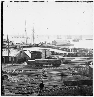 City Point, Virginia. Ordnance wharf image. Click for full size.