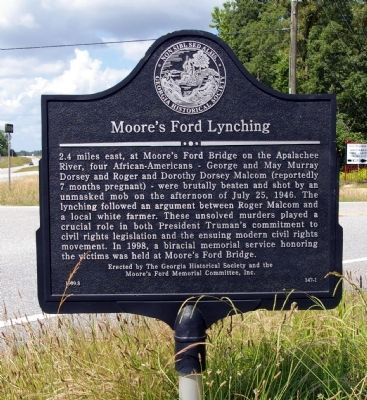 Moore's Ford Lynching Marker image. Click for full size.