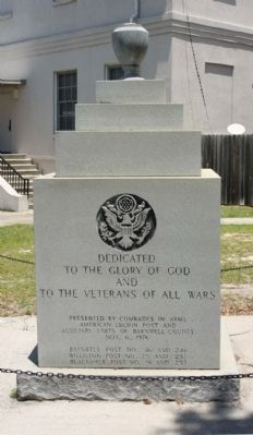 To the Veterans of All The Wars Marker, west face image. Click for full size.