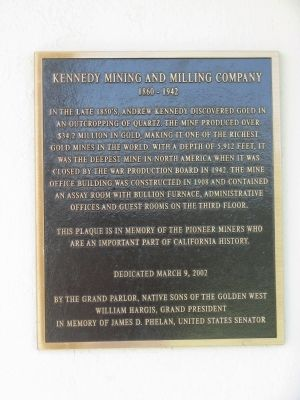 Kennedy Mining and Milling Company Marker image. Click for full size.