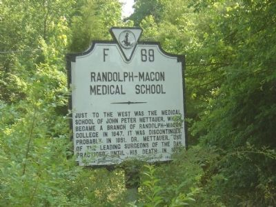 Randolph-Macon Medical School Marker image. Click for full size.