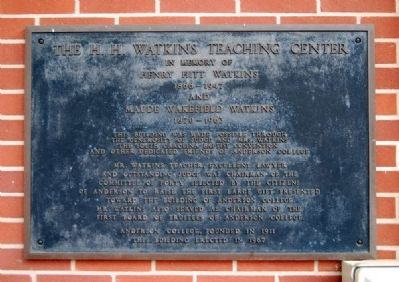 The H.H. Watkins Teaching Center Marker image. Click for full size.