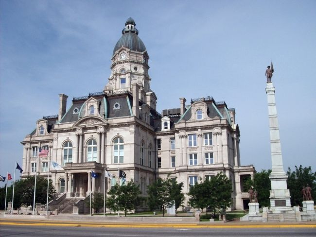 Vigo County Courthouse - - Marker Left of Civil War Memorial... image. Click for full size.