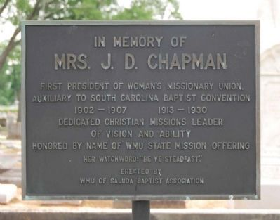 Mrs. J.D. Chapman Marker image. Click for full size.