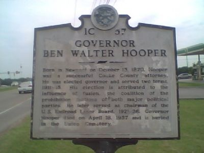 Governor Ben Walter Hooper Marker image. Click for full size.
