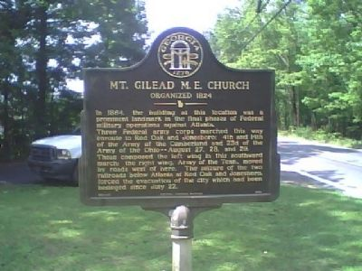 Mt. Gilead M. E. Church Marker image. Click for full size.