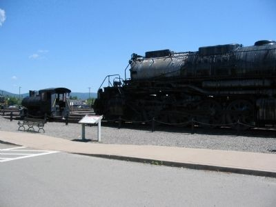 Union Pacific #4012 Marker next to the Locomotive and a Switch Engine image. Click for full size.