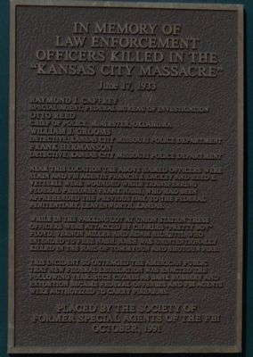 "In Memory of Law Enforcement Officers Killed in the ""Kansas City Massacre"" Marker image. Click for full size."