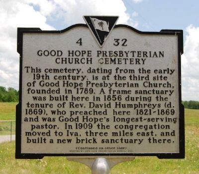 Good Hope Presbyterian Church Cemetery Marker - Front image. Click for full size.
