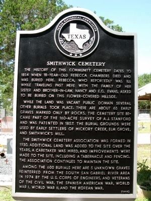Smithwick Cemetery Marker image. Click for full size.