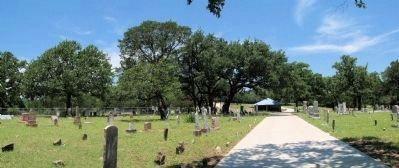Panorama Smithwick Cemetery. Marker by shelter on walkway. image. Click for full size.