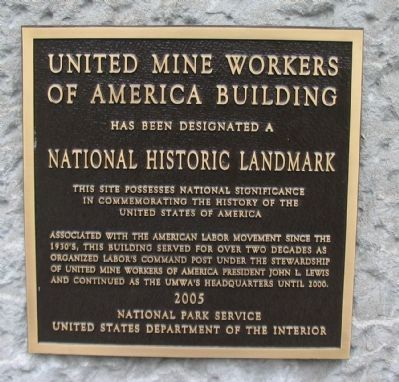 United Mine Workers of America Building Marker image. Click for full size.