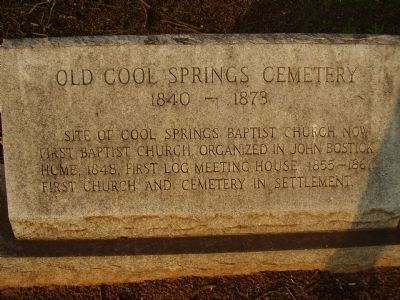 Old Cool Springs Cemetery Marker image. Click for full size.