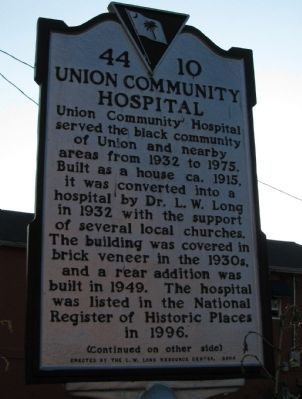 Union Community Hospital Marker image. Click for full size.