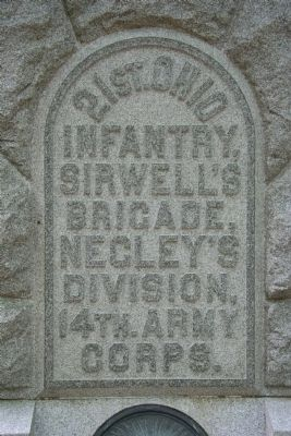 21st Ohio Infantry Memorial, Front Inscription image. Click for full size.
