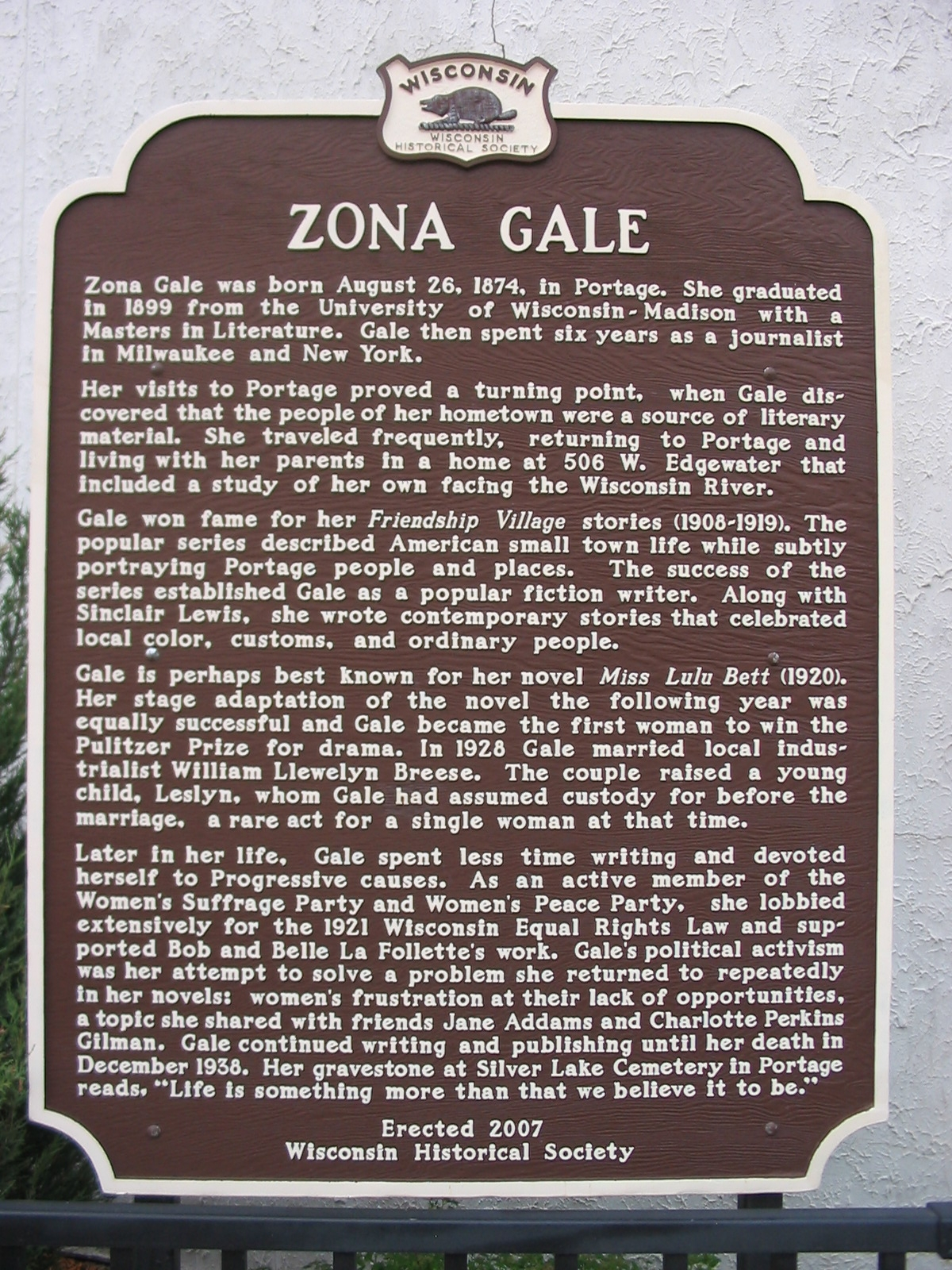 Zona Gale Marker