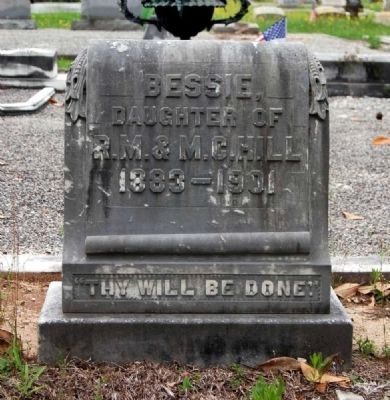 Bessie Hill Tombstone<br>Long Cane Cemetery, Abbeville, SC image. Click for full size.