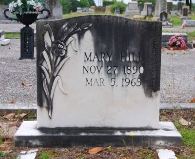 Mary Hill Tombstone<br>Long Cane Cemetery, Abbeville, SC image. Click for full size.