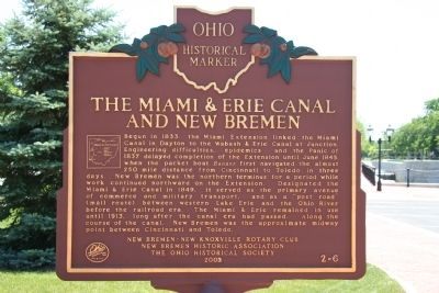 The Miami & Erie Canal and New Bremen Marker image. Click for full size.