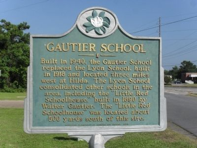Gautier School Marker image. Click for full size.