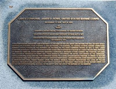 Pickens County Congressional Medal of Honor Memorial -<br>Lance Corporal James D. Howe image. Click for full size.