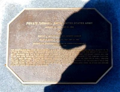 Pickens County Congressional Medal of Honor Memorial -<br>Private Furman L. Smith image. Click for full size.