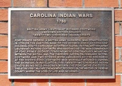 To the Valiant Citizen-Soldiers of Pickens County Memorial -<br>Carolina Indian Wars Plaque image. Click for full size.