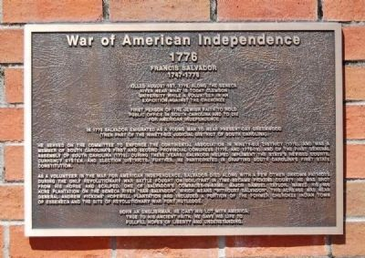 To the Valiant Citizen-Soldiers of Pickens County Memorial -<br>War of American Independence Plaque image. Click for full size.