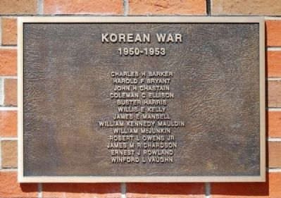 To the Valiant Citizen-Soldiers of Pickens County Memorial -<br>Korean War Plaque image. Click for full size.