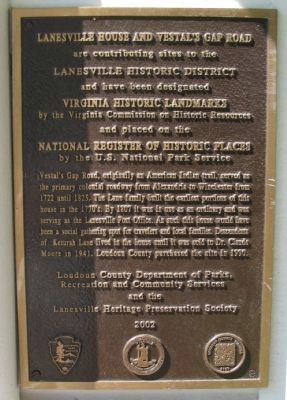 Lanesville House and Vestal's Gap Road Marker image. Click for full size.