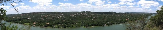 Panoramic view of Colorado River looking west off Mount Bonnell image. Click for full size.
