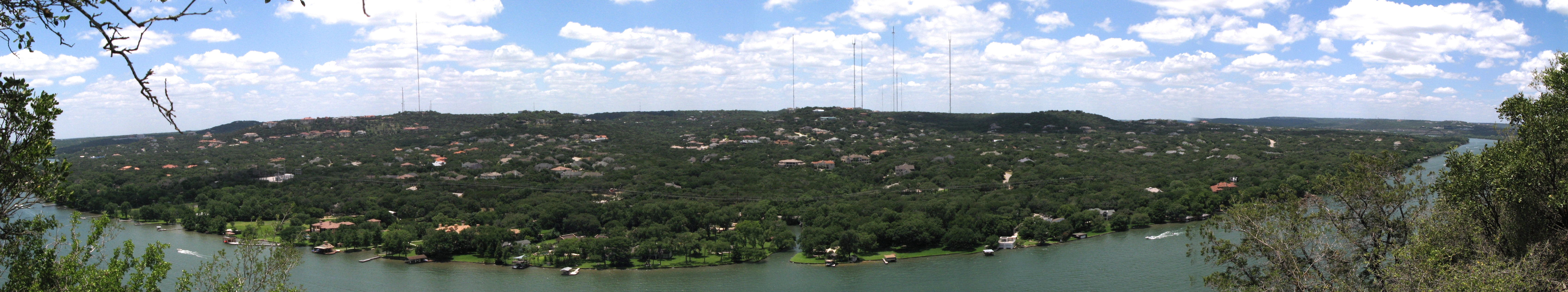 Panoramic view of Colorado River looking west off Mount Bonnell